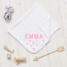Personalised New Baby Scandi Heart Blanket