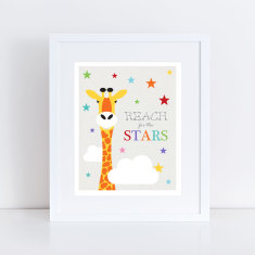 Reach for the stars giraffe art print