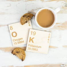 OK Periodic Table Wooden Coasters Set