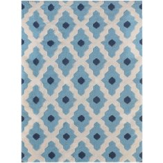 Light Blue handmade flat weave rug