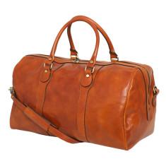 Beltrami tan leather weekender bag