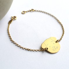 Personalised Gold Fido Dog Face Bracelet