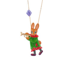 Trumpet Player Rabbit Necklace