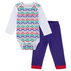 Zig-zag long sleeve onesie with indigo pants