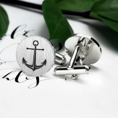 Round Anchor Cufflinks in Sterling Silver