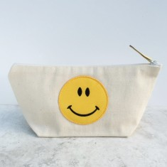 Smiley Face Patch Canvas Zip Pouch Makeup Bag