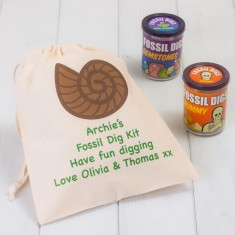 Set Of Two Fossil Dig Kits And Personalised Bag