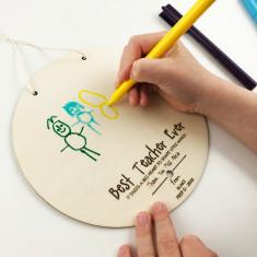 Kid's drawing personalised teacher wall hanging