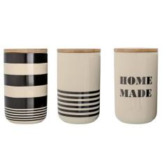 Set of 3 Canisters Black & White