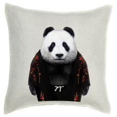 Panda linen cushion cover