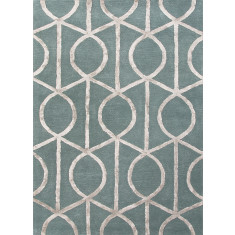 Seaside Blue/Medium Gray hand tufted wool & art silk rug