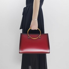 Red Leather top-handle shoulder bag handbag
