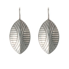 Large Shield rhodium drop earrings