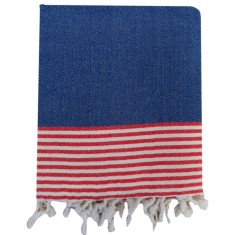 Turkish beach towel in royal blue, red and cream