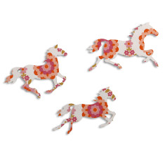 Orange Flower Print Galloping Horses