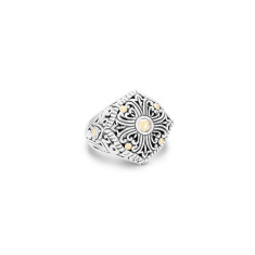 Zahara Sterling Silver and 18K Gold Filigree Shield Ring