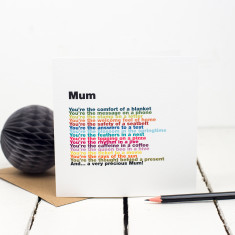 Mum rainbow poem card