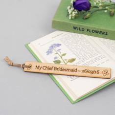 Thank you bridesmaid personalised bookmark