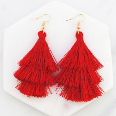 Tassel drop earrings in red and gold