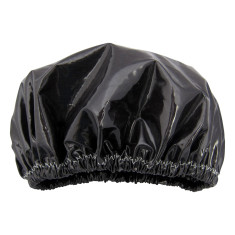 Black Ink Shower Cap In Laminated Cotton