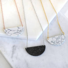 Gemstone Marble Semi Circle Necklace