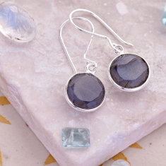 Tablet drop earrings with labradorite in silver