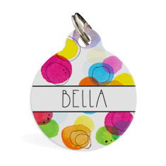 Personalised pet ID tag standard (Confetti)