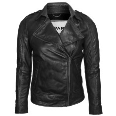 Black Kendall lambskin leather jacket