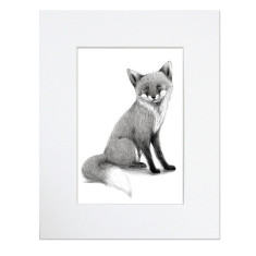 Monochromatic black and white monotone woodland animal rabbit hedgehog owl squirrel fox print