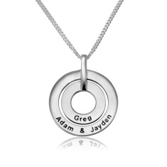 Sterling silver double circled personalised pendant with necklace