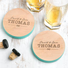 Personalised Images Wedding Coloured Coaster Set