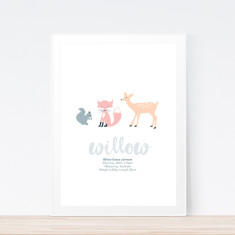 Forest animals birth prints (various colours)