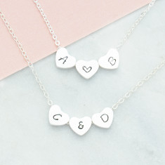 Personalised hand stamped Initials & Heart or Ampersand Necklace in silver