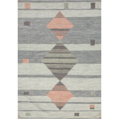 Light Gray / Coral handmade flat weave rug