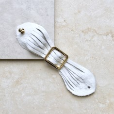 Butterfly Cuff Bracelet In White Cowhide