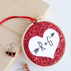 Glitter heart initials embroidery hoop