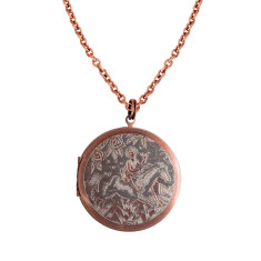 A girl and her horse...Engraved Vintage Copper Locket