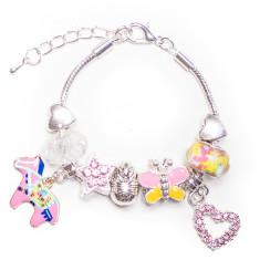 Pink horse charm bracelet