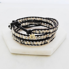 Personalised natural stone and leather wrap bracelet in black and white