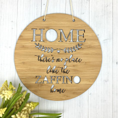 No Place Like Home personalised wall hanging