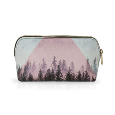 Small Make Up Bag Or Pencil Case with Naturalistic Black, White & Pink Artwork