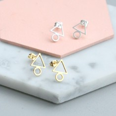 Geometric Tri-Circle Stud Earrings
