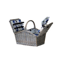 Aegean Traditional Wicker Picnic Basket for 4 People