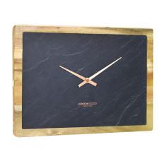 London Clock Company Carbon Solid Acacia Wood / Slate Inlay Rectange Wall Clock 25cm