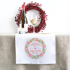 Colourful Christmas Wreath Personalised Christmas table runner (3 sizes)