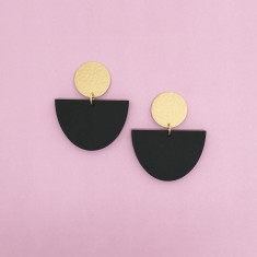 Matt Black Acrylic and Brass Noodle Bowl Drop Earrings