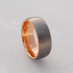 Men's ring in rose gold & brushed tungsten carbide