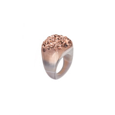 Rose Gold Metallic Hand Carved Agate Ring