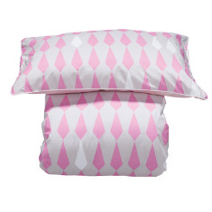 Reversible doona cover set in pink harlequin