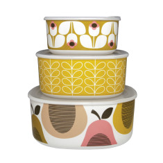Orla Kiely storage bowls in candy floss/lemon sorbet (set of 3)